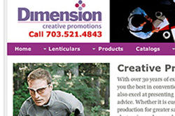 Website for Dimension, a specialty item supplier