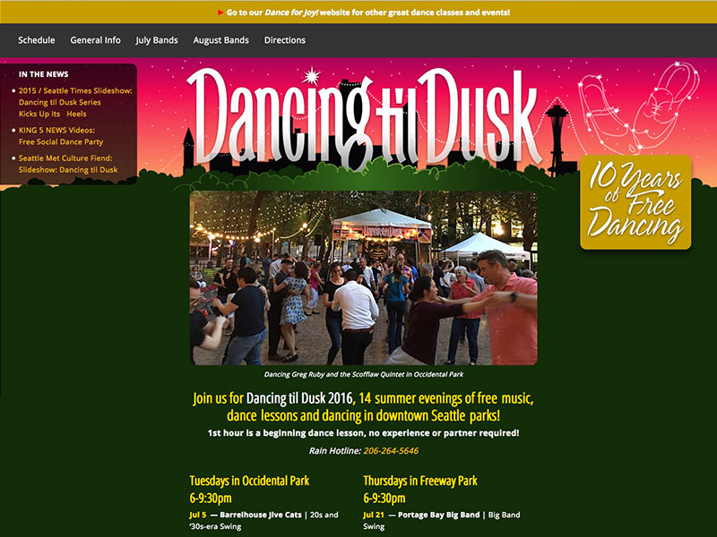 Dancing til Dusk website for dance events in Seattle parks
